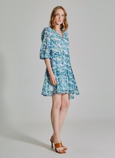 People By Fabrika Desenli Bağlamalı Elbise Mavi